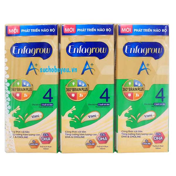 Lốc 3 Sữa Bột Pha Sẵn Enfagrow A+4 Vani 180Ml