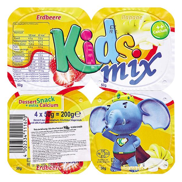 Lốc 4 Sữa Chua Ăn Kids Mix Dâu Chuối 50G