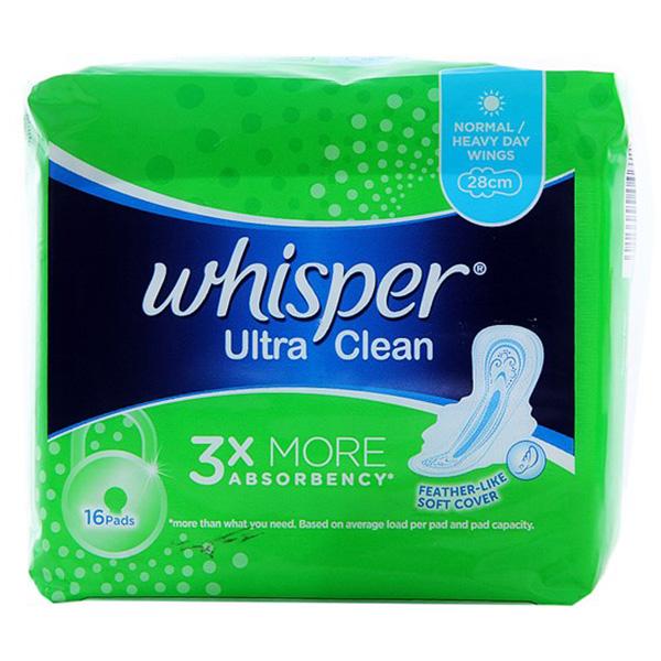Băng Vệ Sinh Whisper Siêu Mỏng Cánh Ultra Clean 16 Miếng