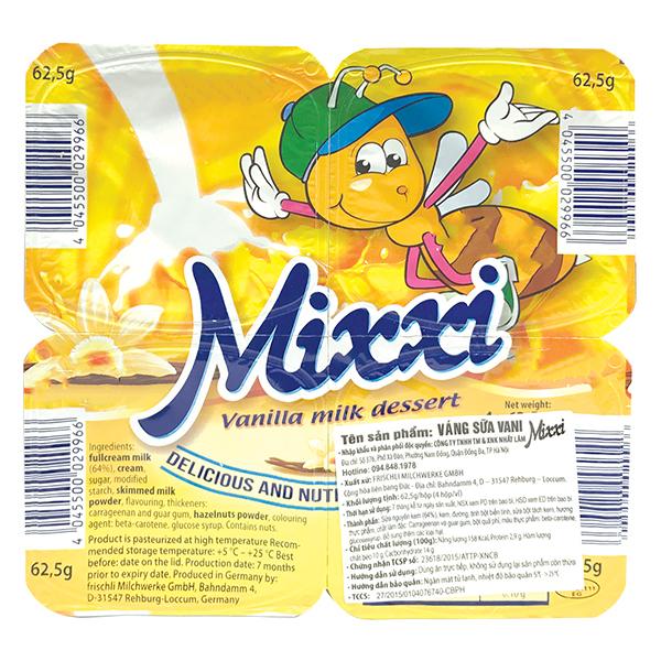 Lốc 4 Váng Sữa Mixxi Vani 62.5G