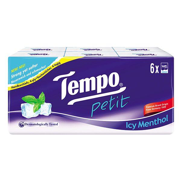 Khăn Giấy Bỏ Túi Tempo Petit Icy Menthol 4 Lớp Lốc 6
