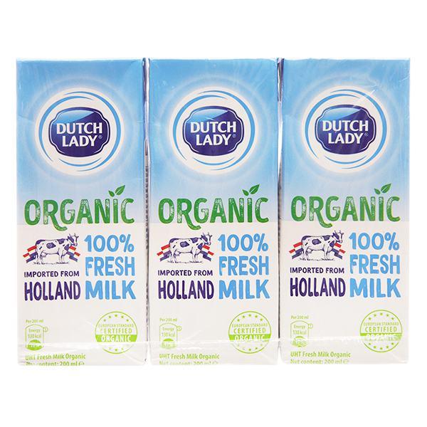 Lốc 3 Sữa Tươi Tiệt Trùng Dutch Lady Organic 200Ml