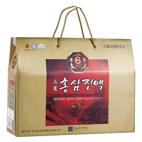 Hộp Quà Nước Hồng Sâm 6 Năm Tuổi Hàn Quốc 30Gói*70Ml