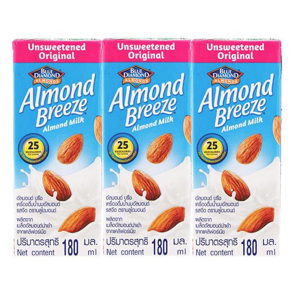 Lốc 3 Sữa Hạnh Nhân Almond Breeze Nguyên Chất Không Đường Hộp 180Ml