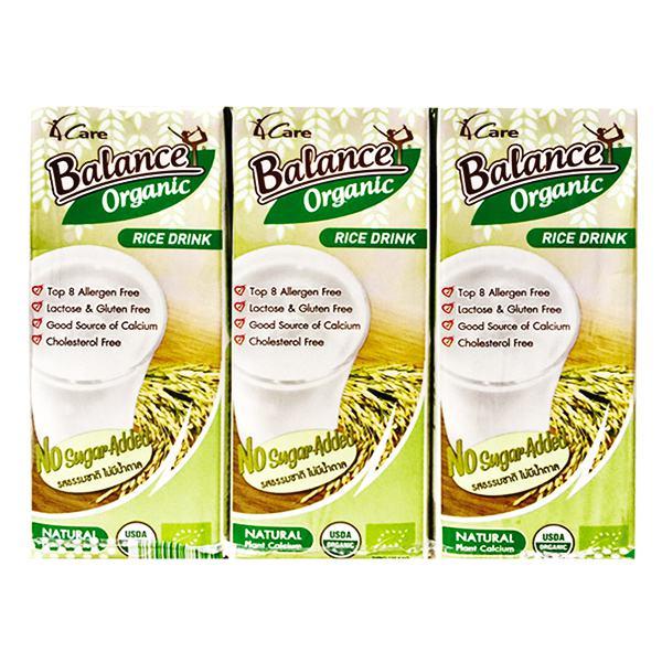 Lốc 3 Sữa Gạo Hữu Cơ Không Đường Balance Hộp 180Ml