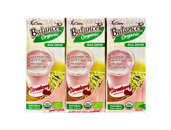 Lốc 3 Sữa Gạo Hữu Cơ Hương Dâu Balance Hộp 180Ml