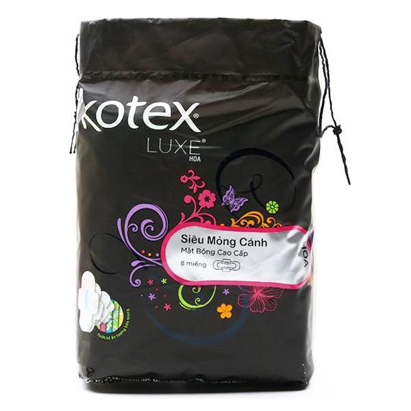 Băng Vệ Sinh Kotex Luxe Hoa Lưới Siêu Thấm Siêu Mỏng Cánh 23Cm Gói 8 Miếng