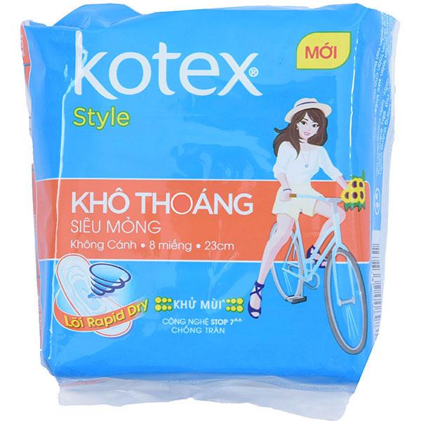 Băng Vệ Sinh Kotex Style Lưới Siêu Thấm Siêu Mỏng Không Cánh 8 Miếng 23Cm