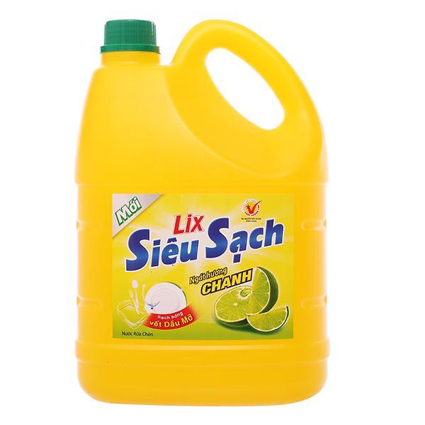 Nước Rửa Chén Lix Siêu Sạch Hương Chanh 4Kg