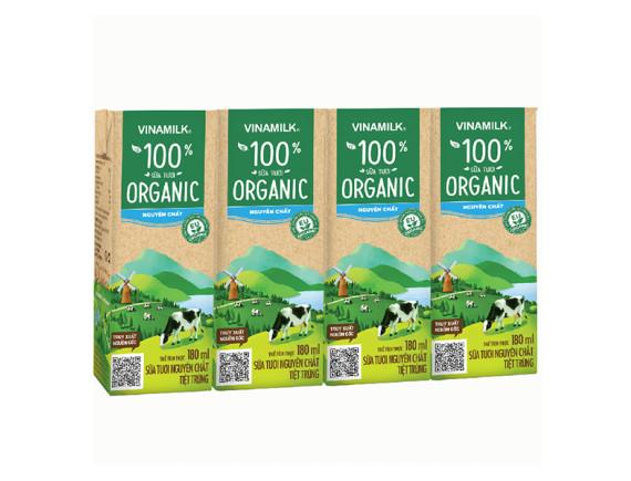 Lốc 4 Sữa Tươi Tiệt Trùng Vinamilk Organic 180Ml