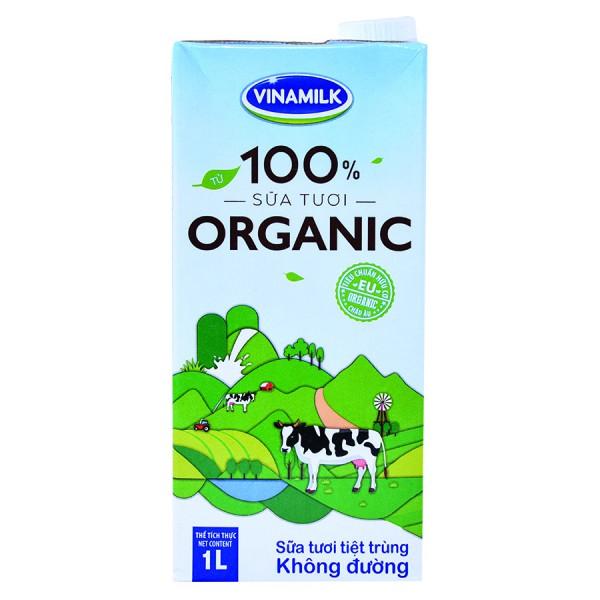 Sữa Tươi Tiệt Trùng Vinamilk Organic Hộp Giấy 1L