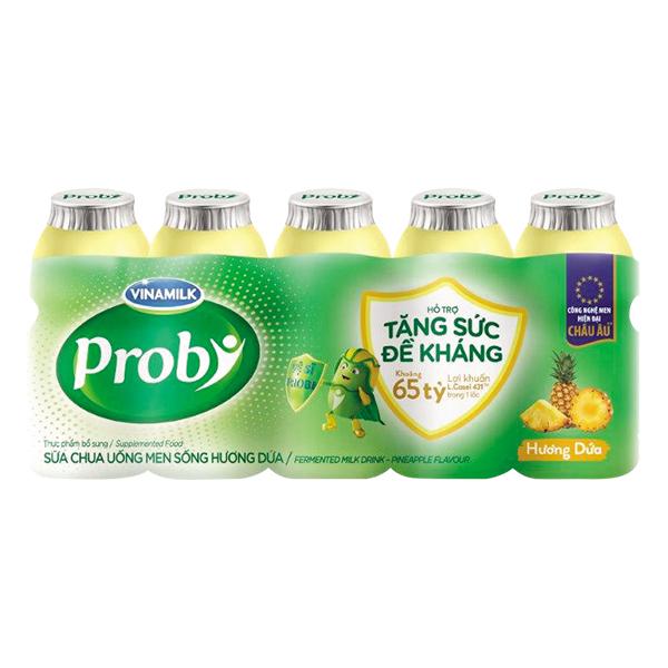 Lốc 5 Sữa Chua Uống Men Sống Vinamilk Probi Dứa Chai Nhựa 65Ml