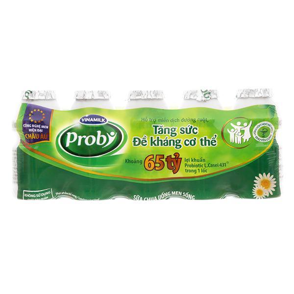 Lốc 5 Sữa Chua Uống Men Sống Vinamilk Probi Có Đường Chai Nhựa 65Ml