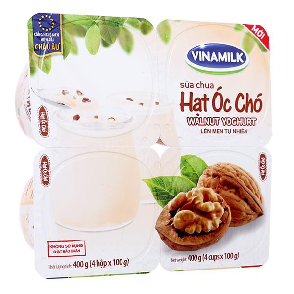 Lốc 4 Sữa Chua Ăn Vinamilk Óc Chó 100G