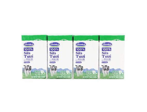 Lốc 4 Sữa Tươi Tiệt Trùng Vinamilk 100% Có Đường 110Ml