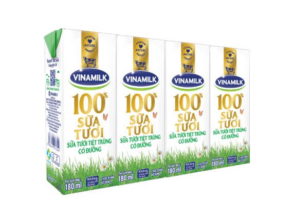 Lốc 4 Sữa Tươi Tiệt Trùng Vinamilk 100% Có Đường 180Ml