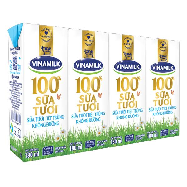 Lốc 4 Sữa Tươi Tiệt Trùng Vinamilk 100% Không Đường 180Ml