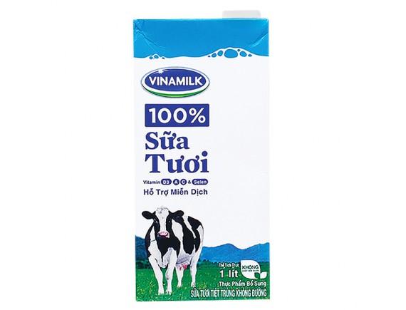 Sữa Tươi Tiệt Trùng Vinamilk Không Đường Hộp Giấy 1L
