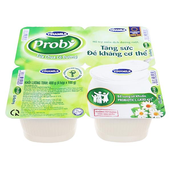 Lốc 4 Sữa Chua Ăn Vinamilk Probi Có Đường 100G