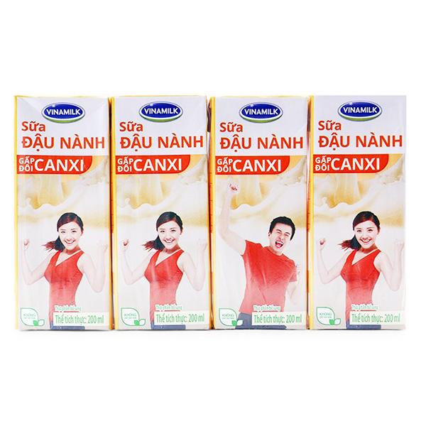Lốc 4 Sữa Đậu Nành Vinamilk Canxi 200Ml