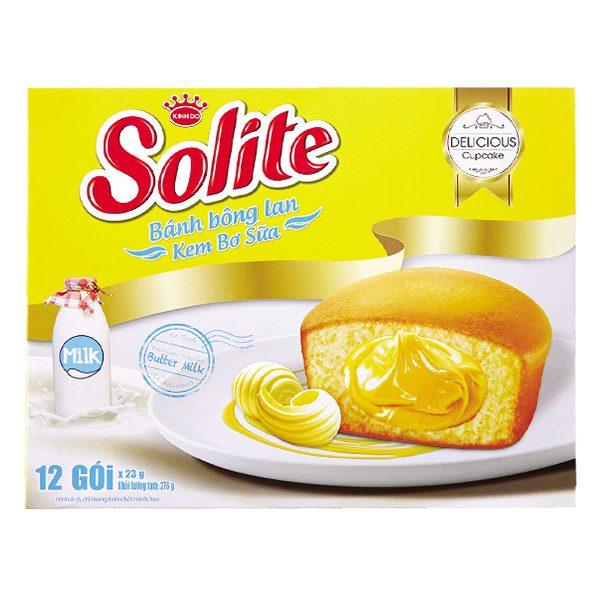Bánh Bông Lan Solite Kem Bơ Sữa Hộp 12 Gói*23G