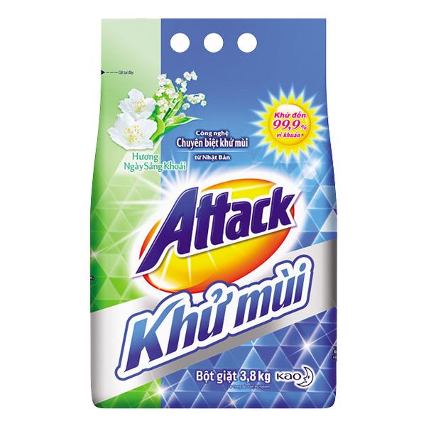 Bột Giặt Attack Khử Mùi Ngày Sảng Khoái 3.8 Kg