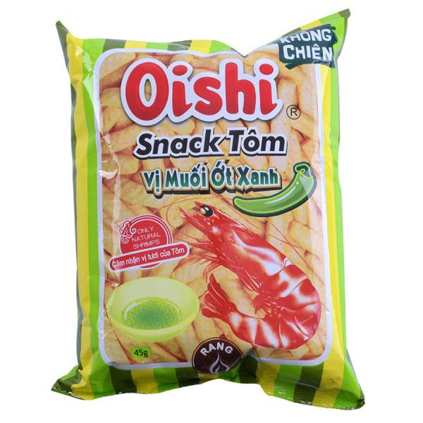 Snack Oishi Tôm Muối Ớt Xanh Gói 45G