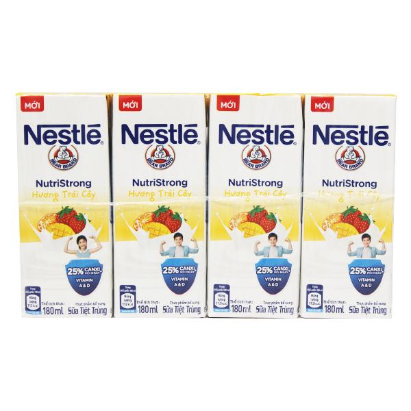 Lốc 4 Sữa Tiệt Trùng Nestle Trái Cây Hộp Giấy 180Ml