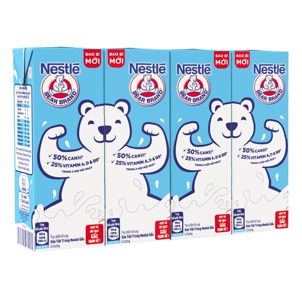 Lốc 4 Sữa Tiệt Trùng Nestle Có Đường Hộp Giấy 180Ml