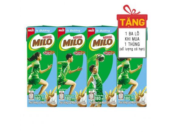 Lốc 4 Thức Uống Lúa Mạch Nestle Milo Ít Đường Hộp 180Ml