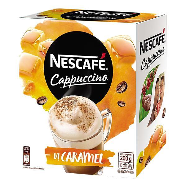 Cà Phê Nescafe Cappuccino Caramel 10Gói*20G