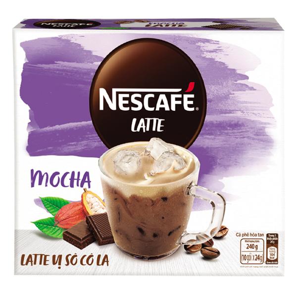 Cà Phê Nescafe Latte Vị Socola Hộp 10 Gói*24G