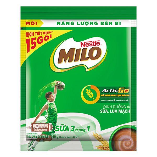 Bột Ca Cao Milo 3in1 Túi 15 Gói*22G