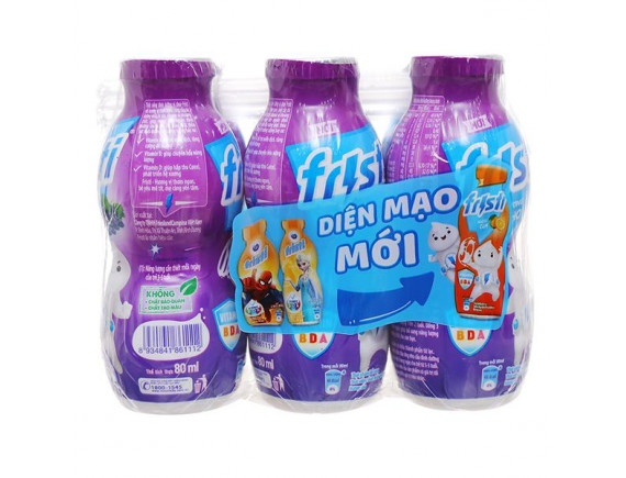 Lốc 6 Sữa Chua Uống Tiệt Trùng Fristi Hương Nho 80Ml