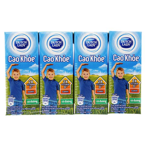 Lốc 4 Sữa Tiệt Trùng Dutch Lady Cao Khỏe Có Đường 170Ml