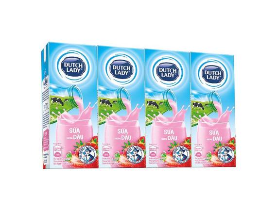 Lốc 4 Sữa Tiệt Trùng Dutch Lady 20+ Dâu 180Ml