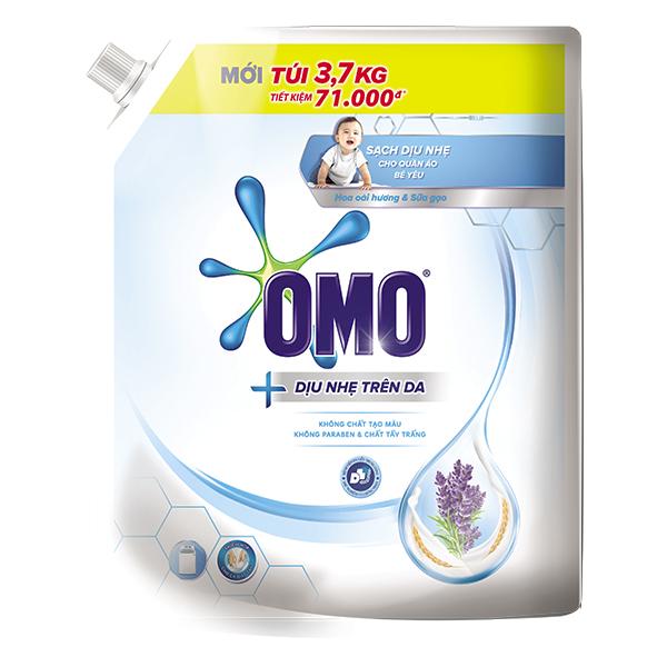 Nước Giặt Omo Matic Dịu Nhẹ Cho Bé Hương Oải Hương Và Sữa Gạo Túi 3.7Kg