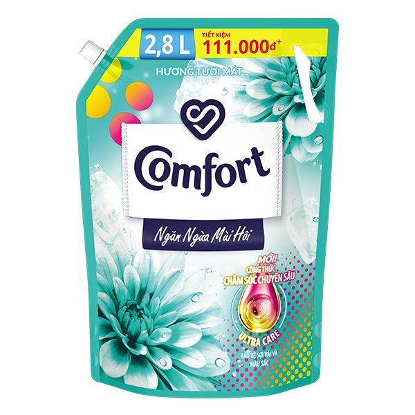 Nước Xả Vải Comfort Hương Tươi Mát Khử Mùi Vượt Trội Túi 2.8L