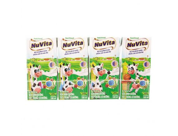 Lốc 4 Sữa Tiệt Trùng Nuvita Có Đường 180Ml