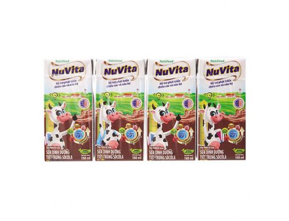 Lốc 4 Sữa Tiệt Trùng Nuvita Socola 180Ml