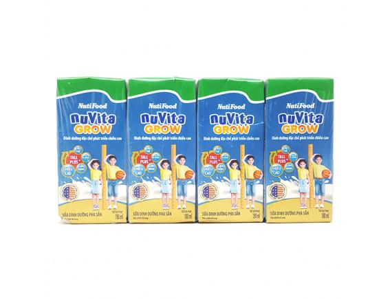 Lốc 4 Sữa Bột Pha Sẵn Nuvita Grow Vani Hộp Giấy 180Ml