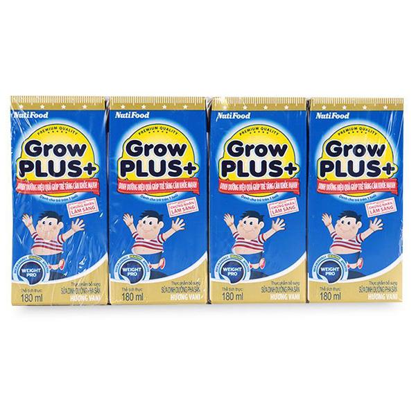 Lốc 4 Sữa Bột Pha Sẵn Growplus Tăng Cân Khỏe Mạnh 180Ml
