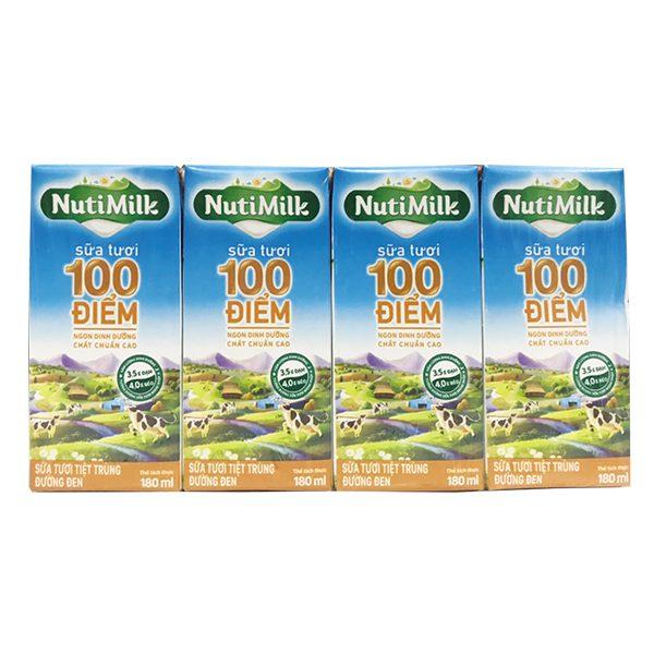 Lốc 4 Sữa Tươi 100 Điểm Nutimilk Đường Đen Hộp 180Ml