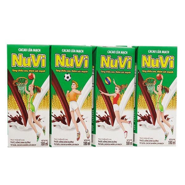 Lốc 4 Thức Uống Dinh Dưỡng Nuvi Cacao Lúa Mạch 180Ml