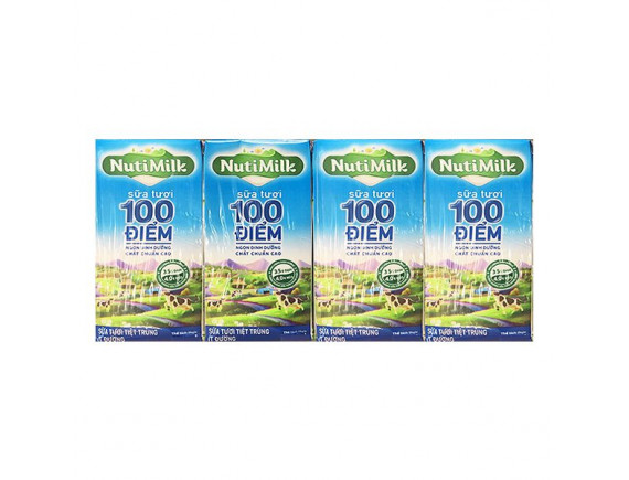 Lốc 4 Sữa Tươi 100 Điểm Nutimilk Ít Đường Hộp 110Ml