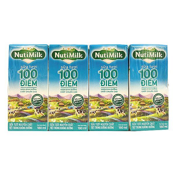 Lốc 4 Sữa Tươi 100 Điểm Nutimilk Nguyên Chất Hộp 180Ml