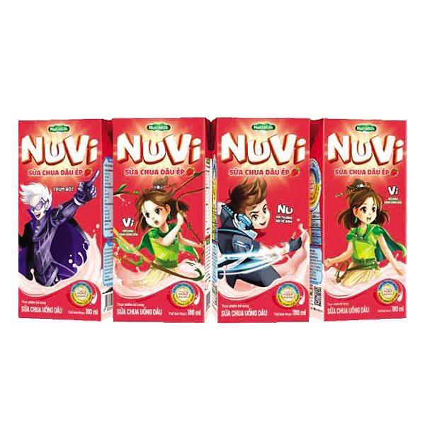 Lốc 4 Sữa Chua Uống Nuvi Dâu Hộp 180Ml