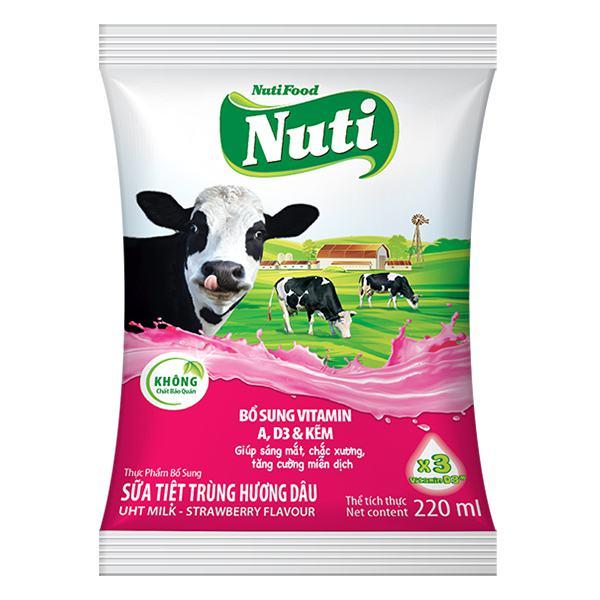 Sữa Tiệt Trùng NutiFood Dâu Bịch 220Ml
