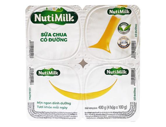 Lốc 4 Sữa Chua Ăn Nutimilk Có Đường 100G