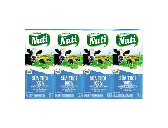 Lốc 4 Sữa Tươi Tiệt Trùng Nutifood 100% Không Đường 180Ml